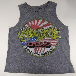 Gray Aerosmith crop top